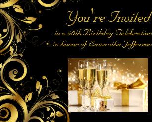 Black And Gold Swirl Custom 60th Birthday Party Invitation