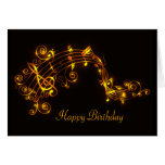 Black and Gold Swirling Musical Notes Birthday