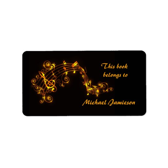 Black and Gold Swirling Musical Notes Bookplates Address Label