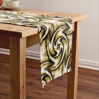 Black and Gold Swirls Short Table Runner