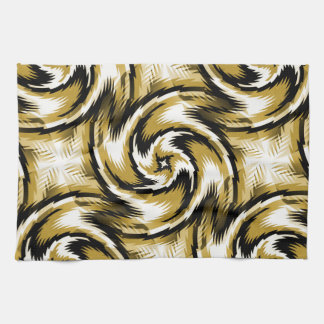 Black and Gold Swirls Tea Towel