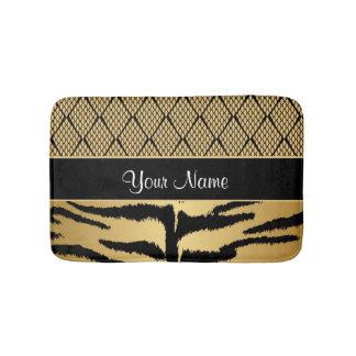 Black and Gold Tiger Animal Pattern Bath Mat