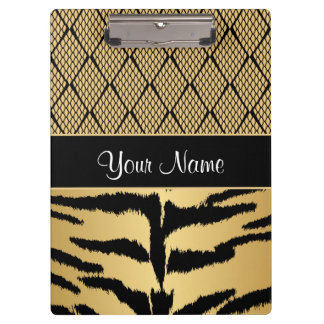 Black and Gold Tiger Animal Pattern Clipboard