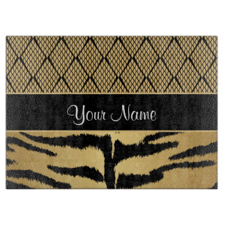 Black and Gold Tiger Animal Pattern Cutting Board