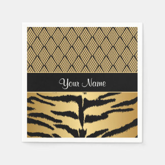 Black and Gold Tiger Animal Pattern Disposable Napkin