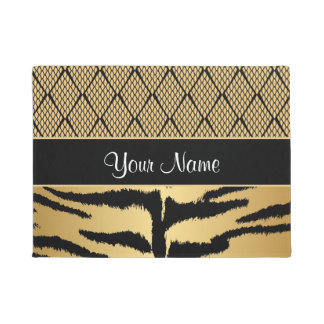 Black and Gold Tiger Animal Pattern Doormat
