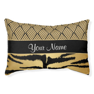 Black and Gold Tiger Animal Pattern Pet Bed