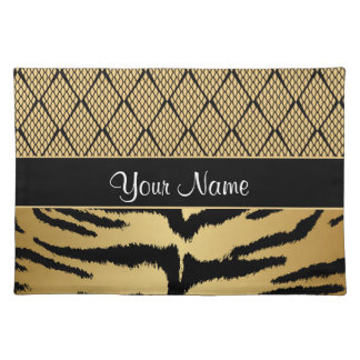 Black and Gold Tiger Animal Pattern Placemat