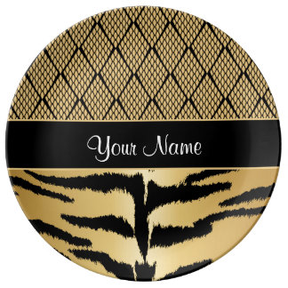 Black and Gold Tiger Animal Pattern Plate