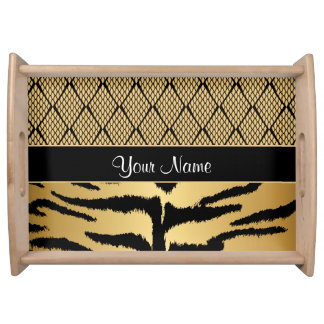 Black and Gold Tiger Animal Pattern Serving Tray