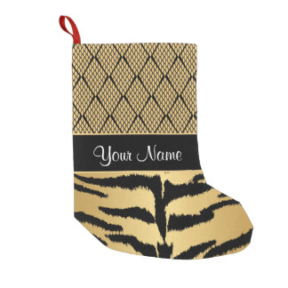 Black and Gold Tiger Animal Pattern Small Christmas Stocking