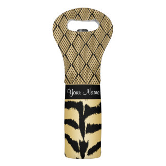 Black and Gold Tiger Animal Pattern Wine Bag