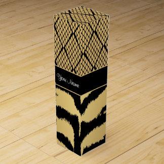 Black and Gold Tiger Animal Pattern Wine Box