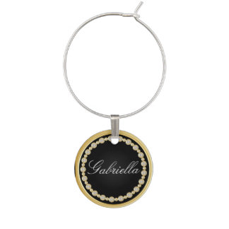 Black and Gold Trim with Diamonds | Personalize Wine Charms