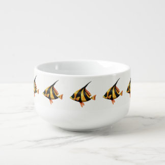 Black and gold tropical angle fish soup mug