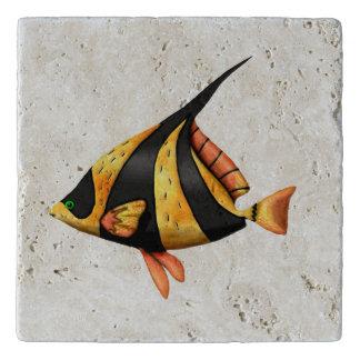 Black and gold tropical angle fish trivet