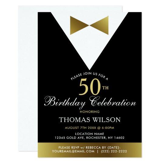Black and Gold Tuxedo | 50th Birthday Invitations