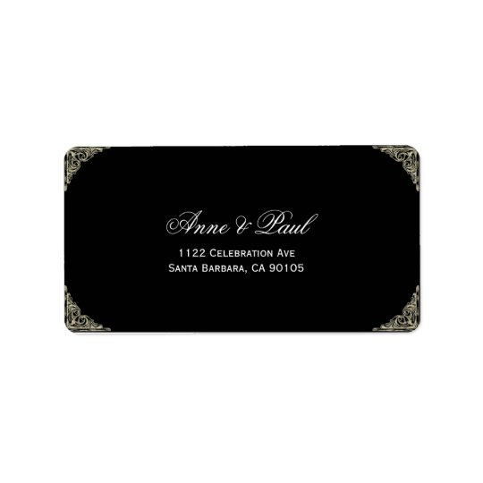 Black and gold typography Address Labels