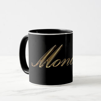 Black and Gold Typography Day of The Week Monday Mug