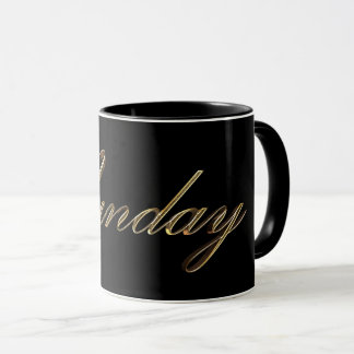 Black and Gold Typography Days of The Week Sunday Mug