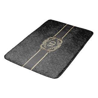 Black and gold vintage damask monogram template… bath mat