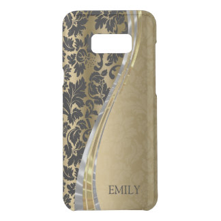 Black And Gold Vintage Damask Wave Stripes Uncommon Samsung Galaxy S8 Plus Case