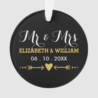 Black and Gold - Wedding Hearts Christmas Ornament
