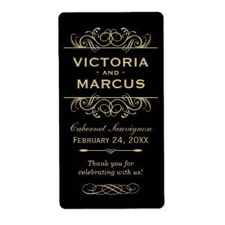 Black and Gold Wedding Wine Bottle Monogram Favour Shipping Label