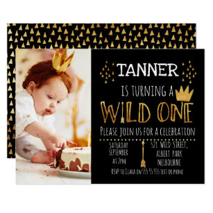 1st birthday invitations announcements zazzle black and gold wild photo 1st birthday invitation filmwisefo