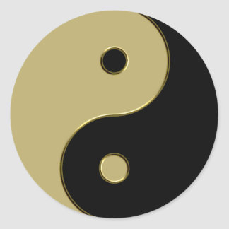 black and gold yin yang classic round sticker
