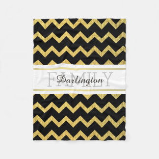 Black and Gold Zig Zag Chevron Pattern Fleece Blanket