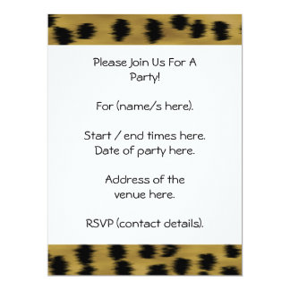 Black and Golden Brown Cheetah Print Pattern. 17 Cm X 22 Cm Invitation Card