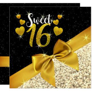 Black and Golden Glittery Sweet 16 Invite