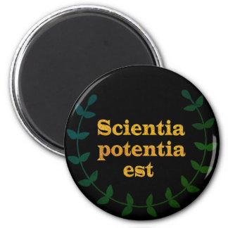 Black and Golden Latin Quote, knowledge, Scientia 6 Cm Round Magnet