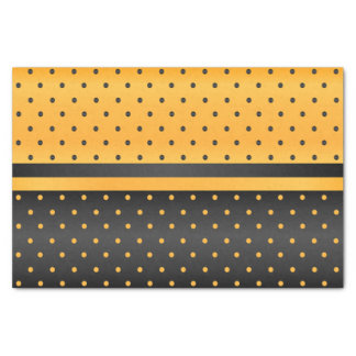 Black and Golden Yellow Polka Dot Pattern Tissue Paper