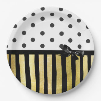 Black and Gpld Polka Dot Striped  Paper Plate