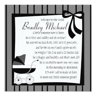 """Black and Gray Baby Buggy 5.25"""" Square Invitation Card"""