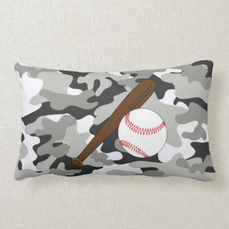 Black and Gray Camo Baseball Bat and Ball Pillow