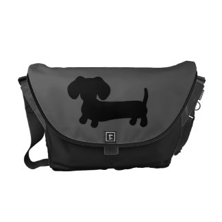 Black and Gray Dachshund Messenger Computer Bag Courier Bag