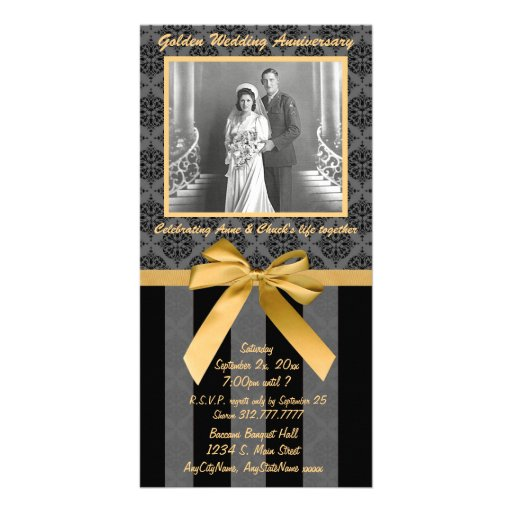 Black And Gray Damask Golden Anniversary Card Photo Card Template