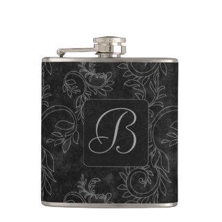 Black and Gray Damask Monogram Flask