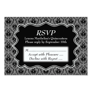 Black and Gray Damask Pattern Quinceanera 9 Cm X 13 Cm Invitation Card