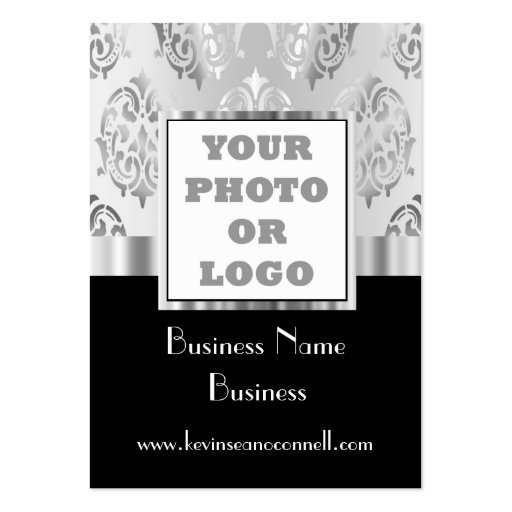 Black and gray damask photo logo business card