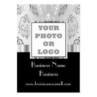 Black and gray damask photo logo pack of chubby business cards