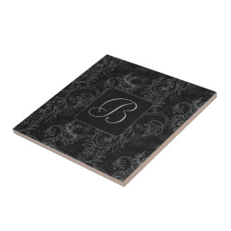 Black and Gray Damask Small Square Tile