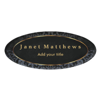 Black and Gray Damask with Gold Trim Design Name Tag