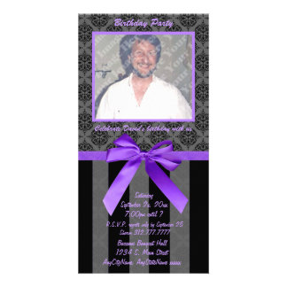Black And Gray Damask With Purple Ribbon Photo Card Template