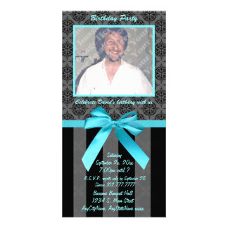 Black And Gray Damask With Teal Ribbon Picture Card