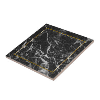 Black and gray faux marble stone ceramic tile