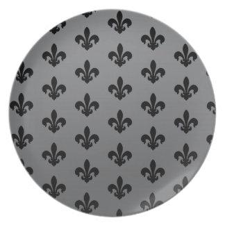 Black and Gray Fleur de Lis Patter Melamine Plate